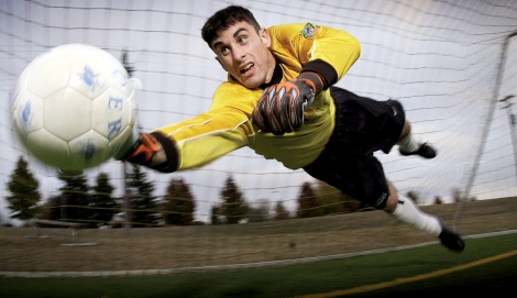 MCCHORD AIR FORCE BASE, Wash. -- 1st Lt. Richard Cullen plays goal keeper with the the Seattle Sounders, a Colorado Springs Premier Development Soccer League. Stationed here as acommunications officer, his assignmeent keeps him hopping at both the wing headquarters and at Seattle Memorial Stadium.